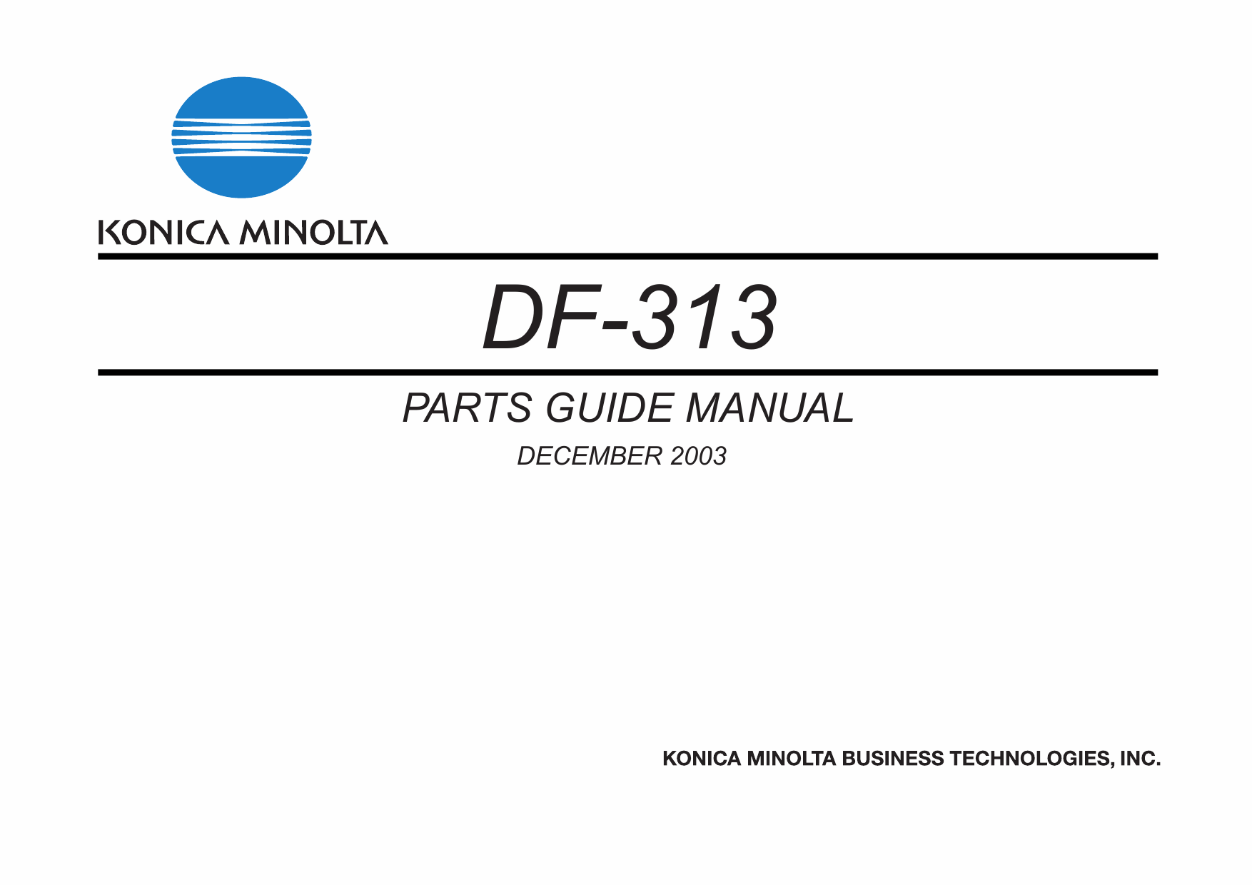 Konica-Minolta Options DF-313 Parts Manual-1